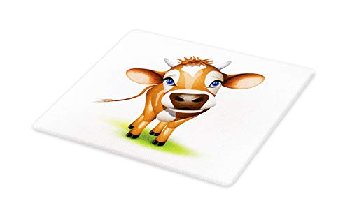 Ambesonne Baby Cutting Board, Digitally Composed Cow with Captivating Eyes Livestock Theme, Decorative Tempered Glass Cutting and Serving Board, Large Size, Cinnamon Blue