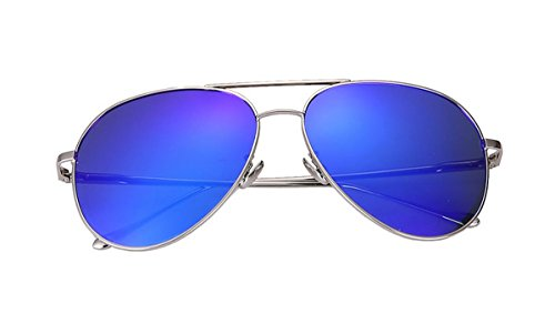 HYY@ Explosion-proof fashion polarized vintage sunglasses Sunglass frog mirror sunglasses , silver box dazzle blue film