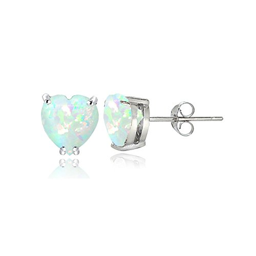 Sterling Silver Created White Opal 5mm Heart Stud Earrings
