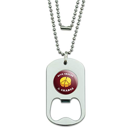 Funny Humor Jewelry - GRAPHICS & MORE Give Cheese a Chance Peace Symbol Funny Humor Military Dog Tag Bottle Opener Pendant