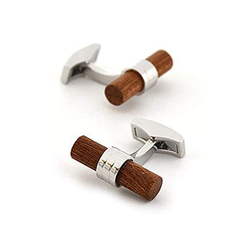 Merit Ocean Natural Wood Cufflinks Men's Wooden Cuff Links Wedding Business (Red) ()
