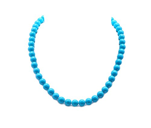 (JYX Knotted 8mm Round Loose Turquoise Gemstone Beads Necklace 18