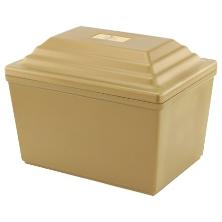 Silverlight Urns Guardian Urn Vault in Gold, Polymer Urn Storage, Holds One Urn for Burial of Ashes