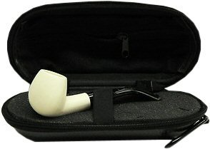 Miniature Meerschaum Pipe - SMOOTH BOWL with Zippered Case (Bowl Meerschaum Pipe)
