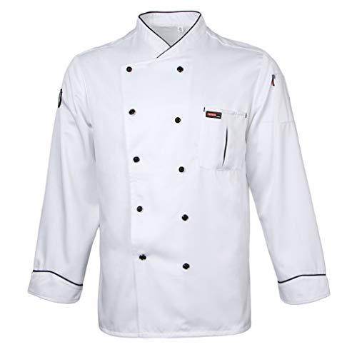 Ladies Piping - Prettyia Men Women Piping Chef Jacket Coat Uniform Long Sleeve Hotel Kitchen Apparel Tops - White, XL