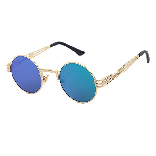 Gafas Classic Metal sol juqilu Punk Mujeres de Sunglasses HipHop Steampunk Hombres C10 Vintage w6RUAq