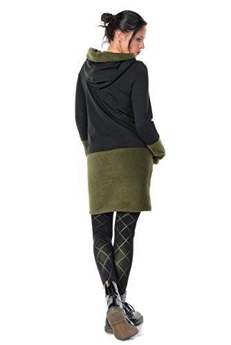 Verde Donna Vello Cappuccio Pile Casual 3elfen Vestito Con aqwOAxSg