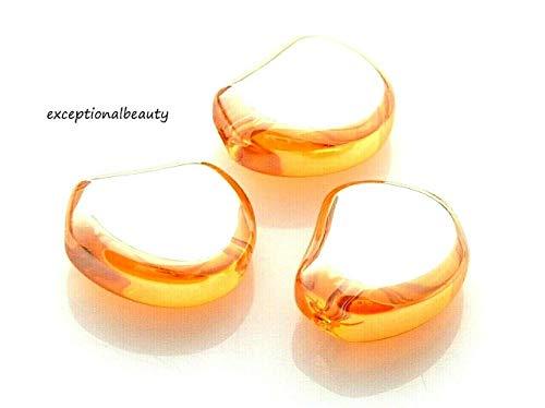 20 Celestial Crystal 17mm Orange Amber AB Hyacinth Bean Focal Glass Beads