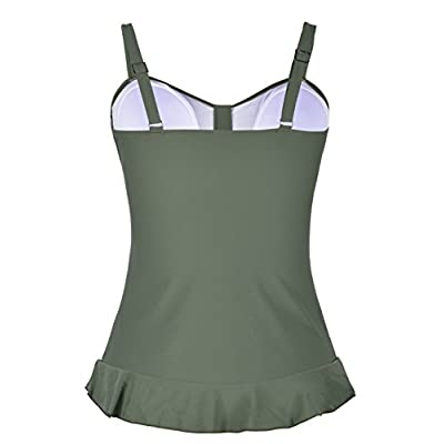 Hilor Women's 50's Retro Ruched Tankini Swimsuit Top with Ruffle Hem at Women's Clothing store