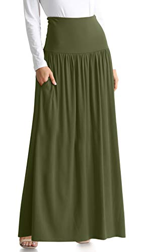 Olive Green Skirts for Women Reg and Plus Size Maxi Skirt High Waisted Skirt Olive Green Maxi Skirt Maternity Maxi Skirt (Size XXX-Large US 16-18, Olive Green ()