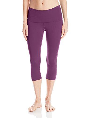 (Danskin Women's Fold-Over Capri Legging, Dark Violet, Medium)