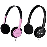 Sony Lightweight on Ear 1 Pink and 1 Black Childrens Stereo Headphones