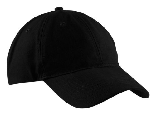 (Port & Company Brushed Twill Low Profile Cap-OSFA (Black))