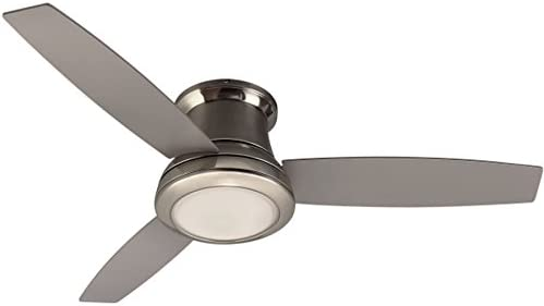 Harbor Breeze 40048 Sail Stream 52-in Brushed Nickel Indoor Flush Mount Ceiling Fan with Light Kit and Remote