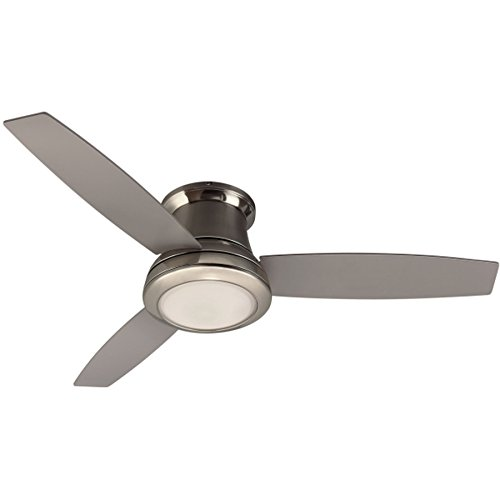 (Harbor Breeze Sail Stream 52-in Brushed Nickel Flush Mount Indoor Ceiling Fan with Light Kit and Remote (3-Blade))