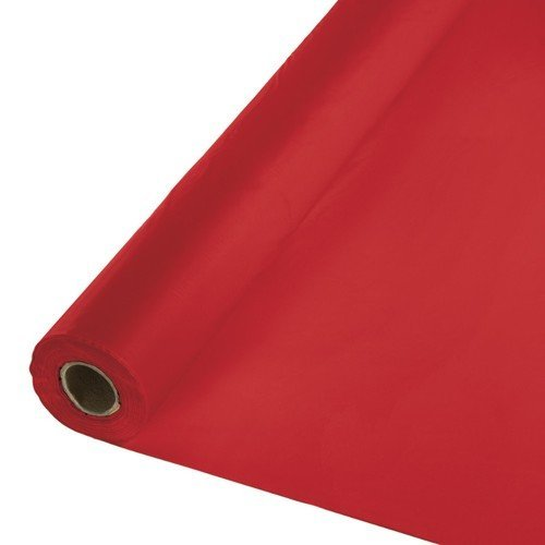 Creative Converting Touch of Color 250' Plastic Tablecover Banquet Roll, Classic Red