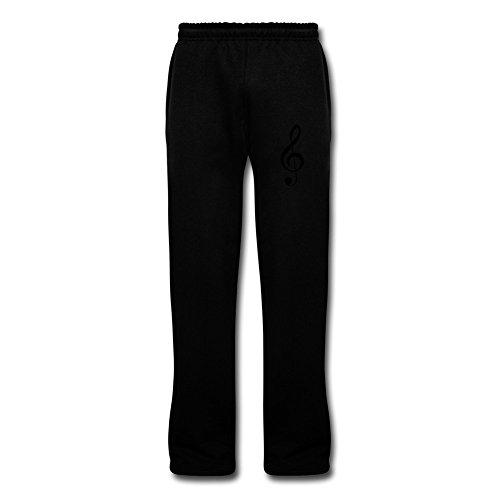 Men's Music Symbol Bottom Sweatpants Black (Black Iron Flute)