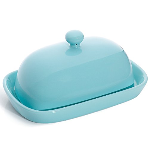 Sweese 3165 Porcelain Cute Butter Dish with Lid, Perfect for East/West Butter, Turquoise by Sweese (Image #5)