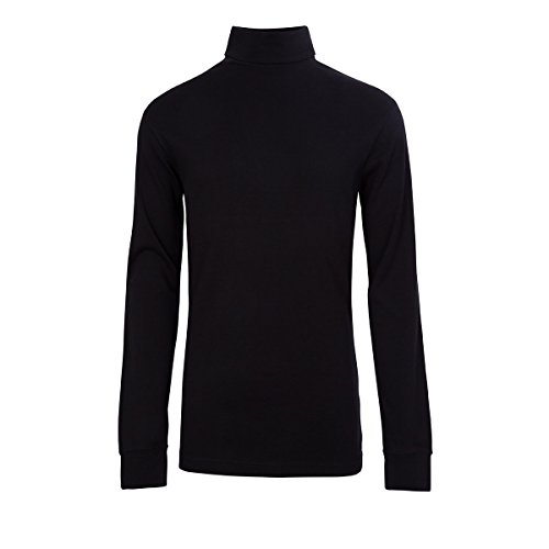 (Meister Men's Cotton/Blend Roll Neck Turtleneck Top, Medium, Black)