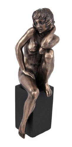 Things2die4 Resin Statues Wu75387a4 Bronzed Finish Nude Woman Sitting Pose Statue Erotic Art 2.75 X 7.75 X 2.5 Inches Bronze