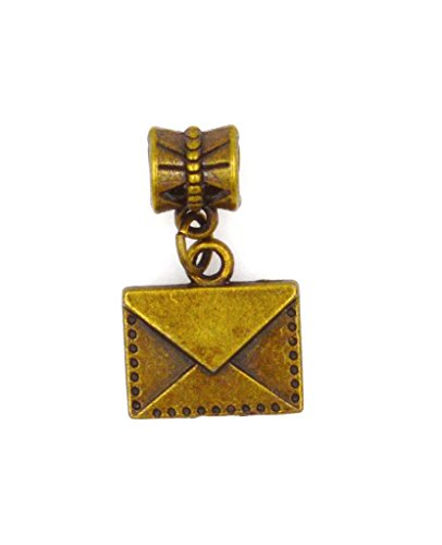 Pony Express Envelope - It's All About...You! Bronze Letter Envelope Dangling European Bead Charm 89Q