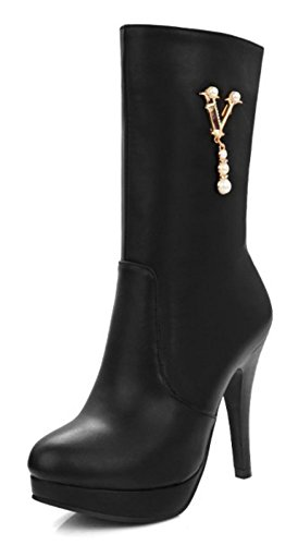 CHFSO Womens Fall Sexy Stiletto Solid Round Toe Zipper High Heel Mid Cuff Boots Black bVFCbbv9