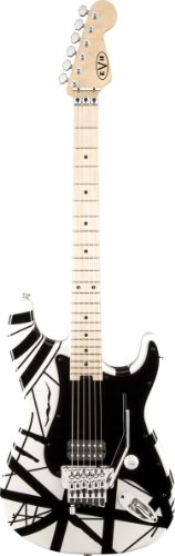 EVH Striped Series Stratocaster Electric Guitar - White with Black - White Stratocaster Guitar