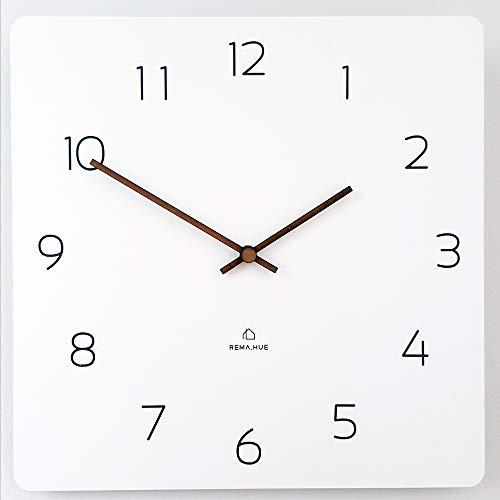 (Rema House Modern Square Wall Clock Silent &Non-Ticking Quartz Eco Wooden 11.4