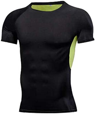 ファッション スポーツフィットネスtシャツの男性、半袖速乾性の服夏の通気性の高い弾性バスケットボールトレーニングタイツスウェットシャツ エレガント