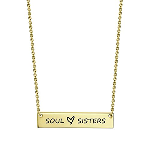 Latigerf Soul Sisters Heart Bar Engraved Chain BFF Necklace