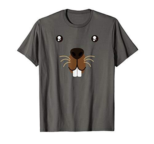 Cute Animal Face Groundhog Day Beaver Kawaii Style Costume  T-Shirt ()
