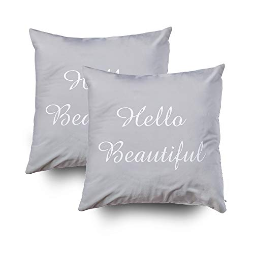 EMMTEEY Home Decor Throw Pillowcase for Sofa Cushion Cover, Christmas Hello Beautiful Accent Decorative Square Accent Zippered and Double Sided Printing Pillow Case Covers 16X16Inch,Set of 2