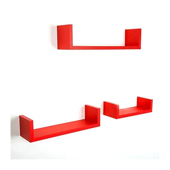"""Anferstore Set of 3 Floating Wall Shelves, Rustic Laminated MDF Floating U Wall Decor Shelves (Red) - These shelves are perfect for displaying your favorite books, collectibles, photos, toys, awards, CD's, videos, decorative items and more Waterproof Coatings: Coated With Quality Paint For Smoother Surface And Better Resistance To Water And Moisture Made of MDF & laminate, it is not real wood, Approximate Dimensions: Large: 17 x 4 x 4"""". Medium: 13 x 4 x 3.5"""". Small: 6.3 x 4 x 3"""". - wall-shelves, living-room-furniture, living-room - 31bNHTbcdxL. SS570  -"""