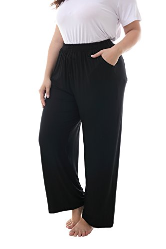 (ZERDOCEAN Women's Plus Size Modal Stretchy Relaxed Lounge Pants with Pockets Black 1X)