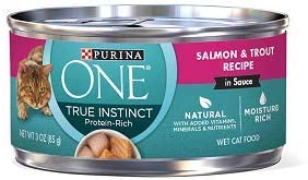 Purina ONE True Instinct Salmon Trout Recipe 12-CANS NET WT 3 OZ Each CAN