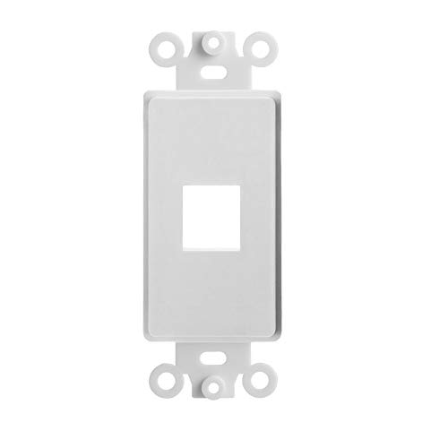 BoltLion BL-693616 1 Port Keystone Jack Insert Decora Wall Plate for Home/Offices/Hotels/Schools - White, 5 Pack