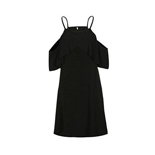 Masterein Femmes Sexy Encolure Sling Robe  Volants Beach Party Summer Dress Solide noir