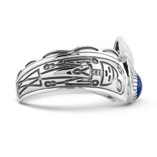 American West Sterling Silver Blue Lapis or Green Malachite Gemstone Fritz Casuse Designer Cuff Bracelet Size S, M or L