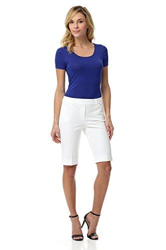 (Rekucci Women's Smart Chic Short in Ultimate 360 Degree Stretch Cotton (12,White))