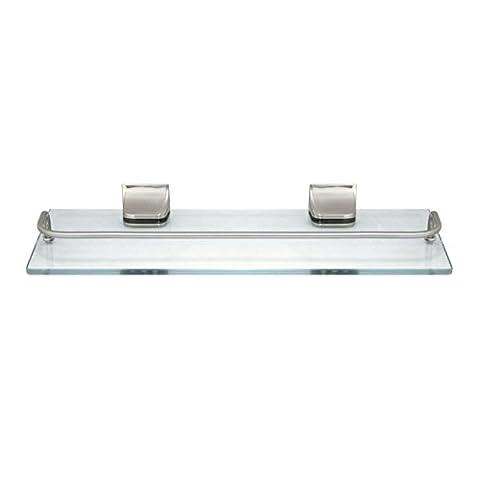 MODONA Glass Wall Shelf with Rail – Satin Nickel – 5 Year Warrantee