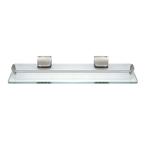 MODONA Glass Wall Shelf with Rail – Satin Nickel – 5 Year Warrantee (Nickel Satin Shelf Vanity)