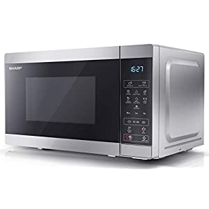 SHARP YC-MS02U-S 800W Solo Digital Microwave Oven with 20L Capacity, 11 Power Levels & 8 Cooking Programmes – Silver