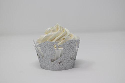 All About Details Female & Male Graduates Cupcake Wrappers,12pcs (Glitter Silver)