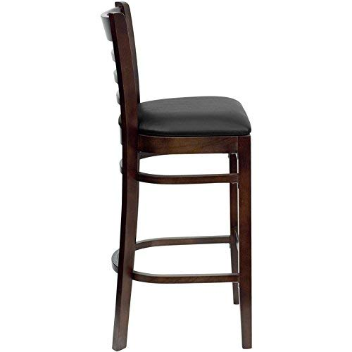 Flash Furniture HERCULES Series Ladder Back Walnut Wood Restaurant Barstool - Black Vinyl ()