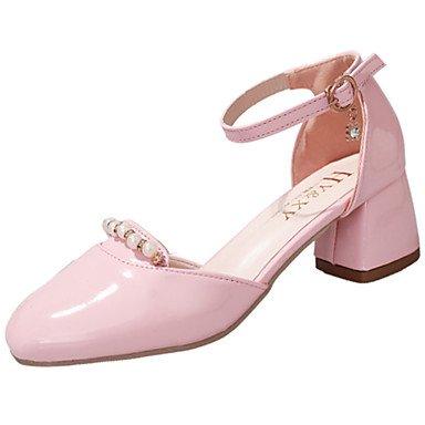 LvYuan Mujer Sandalias Confort Cuero Patentado Verano Casual Vestido Paseo Confort Perla Hebilla Tacón Bajo Negro Beige Rosa claro 2'5 - 4'5 cms light pink
