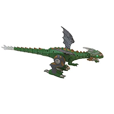 KOME Walking Dinosaur Toy with Breathing Smoke, Battery Powered Christmas Toy Shaking Head, Light Up Eyes and Sounds Mist Spray Flashing Lights Robot: Toys & Games