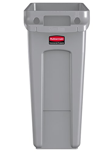 rubbermaid commercial vented slim jim trash can waste receptacle 16 gallon gray plastic