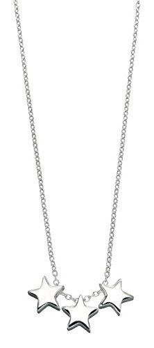 Silver star necklace amazon elements sterling silver ladies triple star necklace of length 42 44cm aloadofball Image collections