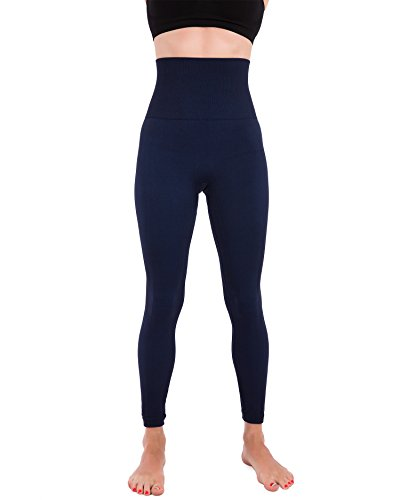 Navy Activewear (Homma Activewear Thick High Waist Tummy Compression Slimming Body Leggings Pant (Large, Navy))