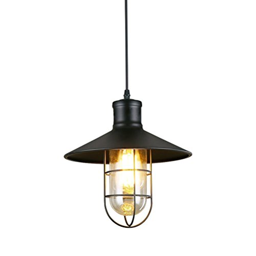 Lightess Matte Black Pendant Lights Kitchen Barn Hanging Lights Metal Cage Farmhouse Lighting Industrial Edison Ceiling Light Fixtures, CY-9
